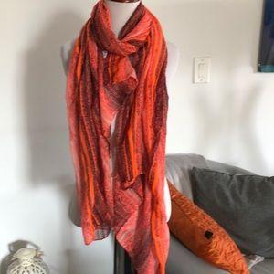 NAT & NIN PARIS. LARGE ORANGE RED scarf
